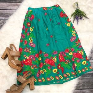 VINTAGE Malia Honolulu Pleated Floral Skirt
